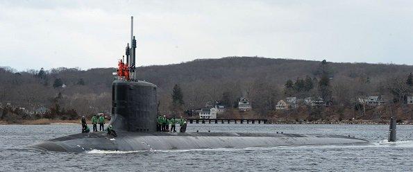 USS South Dakota Feb 2019 on Thames River near Electric Boat