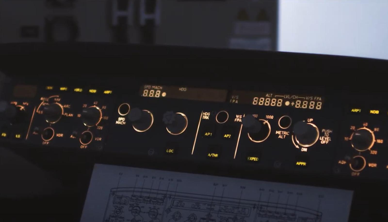 Close up of aircraft control panel