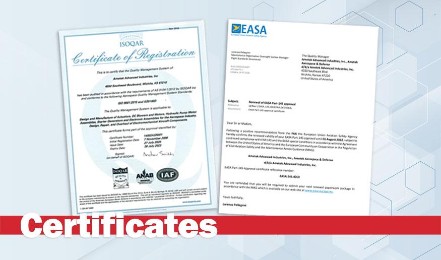 FAA and EASA Certificates