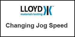 How do I change the jog speed on my Lloyd Instruments Plus Series test machine
