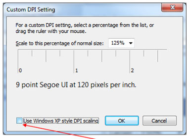 Disable the check box for Windows XP Style DPI